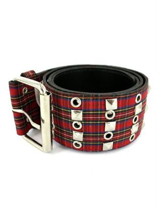 Picture of Red plaid belt with studs, 41' (Available in a pack of 20)