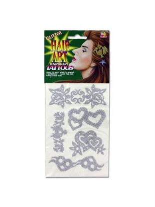 Picture of Glitter hair tattoos, choice of 8 designs (Available in a pack of 24)