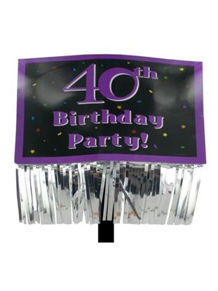 Picture of 40th Birthday Party yard sign with fringe (Available in a pack of 24)