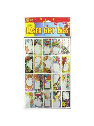Picture of Laser sticker birthday gift tags, sheet with 20 stickers (Available in a pack of 24)