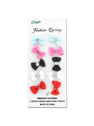 Picture of Bow earrings, card with five pair (Available in a pack of 24)