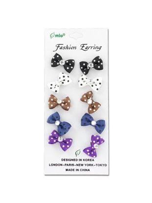 Picture of Polka dot bow fashion earrings, 5 pair (Available in a pack of 24)