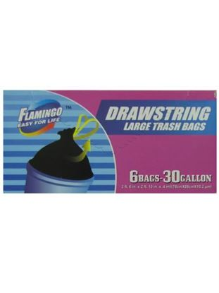 Picture of Drawstring trash bags, package of 6 30 gallon bags (Available in a pack of 24)