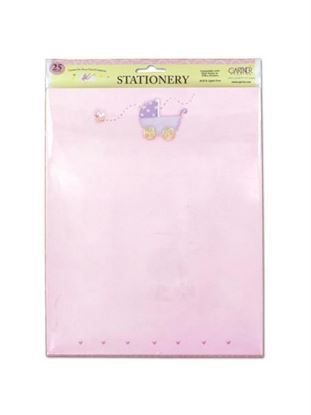 Picture of Pink baby stationery with baby carriage, pack of 25 sheets (Available in a pack of 24)