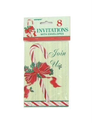 Picture of Candy cane invitations, pack of 8 (Available in a pack of 24)