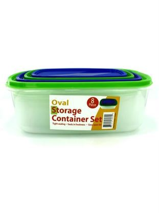 Picture of 4 Pack oval storage containers with lids (Available in a pack of 1)
