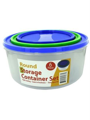 Picture of 3 Pack round storage container set with lids (Available in a pack of 1)