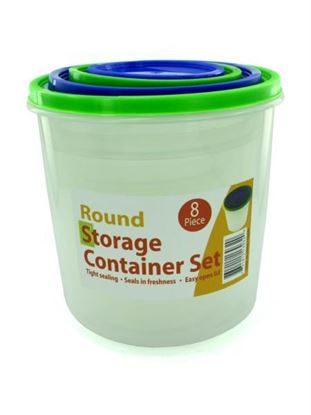 Picture of 4 Pack round storage container set with lids (Available in a pack of 1)