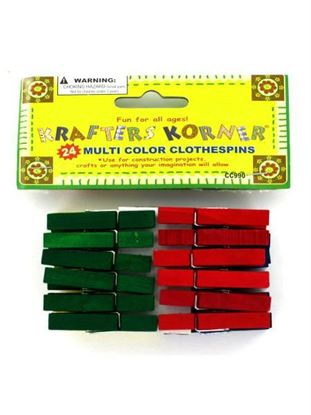 Picture of Mult-color clothespins (Available in a pack of 24)