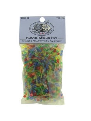 Picture of 750 piece plastic sequin pins assorted colors (Available in a pack of 24)
