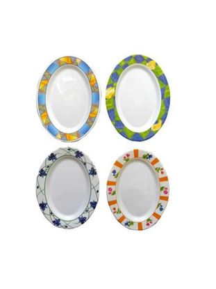 Picture of Melamine oval plate, four assorted designs (Available in a pack of 12)