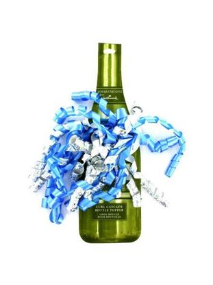 Picture of Blue and silver curled ribbon bottle topper (Available in a pack of 24)