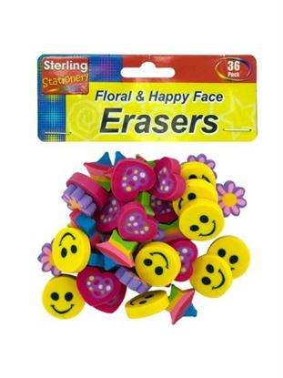 Picture of Flower and happy face erasers (Available in a pack of 24)