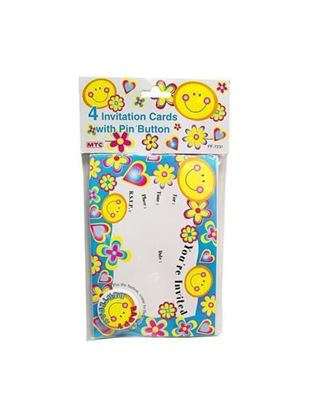 Picture of 4 invitation cards with face buttons (Available in a pack of 24)
