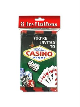Picture of Casino night party invitations, pack of 8 (Available in a pack of 24)