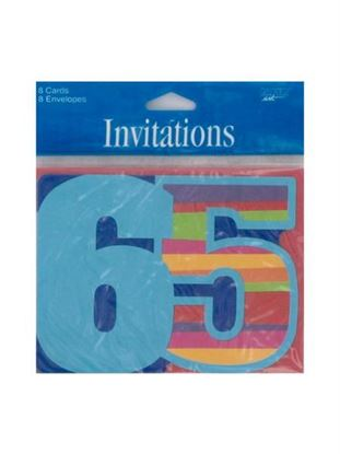 Picture of 65th birthday invitations (Available in a pack of 24)