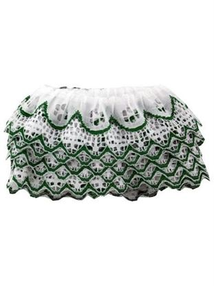 Picture of 4 Yard Green & White Ruffled Lace Trim (Available in a pack of 20)