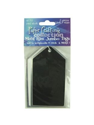 Picture of 2 pc black/white metal rim card stock jumbo tags (Available in a pack of 30)