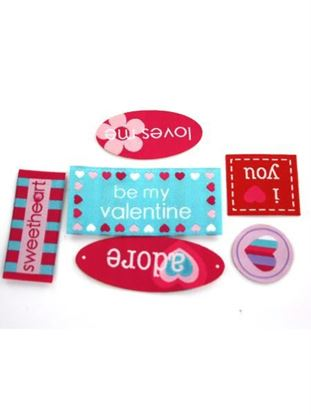 Picture of 6 piece valentine woven labels assorted styles (Available in a pack of 50)