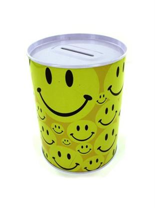 Picture of Tin bank with happy face design (Available in a pack of 24)