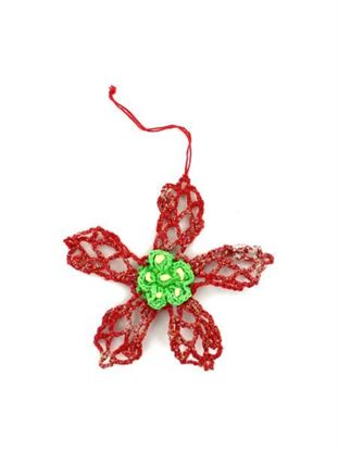 Picture of Crochet poinsettia ornaments, pack of 12 (Available in a pack of 24)