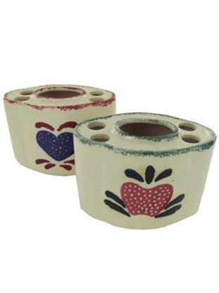 Picture of Country design ceramic toothbrush holder, assorted (Available in a pack of 18)