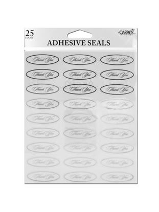 Picture of Silver thank you seals with clear adhesive back (Available in a pack of 24)
