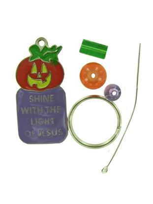 Picture of Beaded Christian Pumpkin Key Chain Craft Kit (Available in a pack of 24)