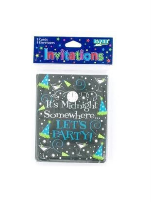 Picture of It's Midnight Somewhere .. Let's Party New Year's invitations, pack of 8 (Available in a pack of 24)