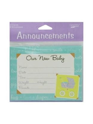 Picture of Modern birth Announcements, pack of 8 (Available in a pack of 24)