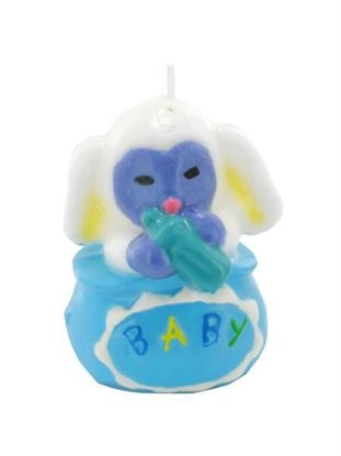 Picture of 4 inch x 2.5 inch blue animal candle (Available in a pack of 24)