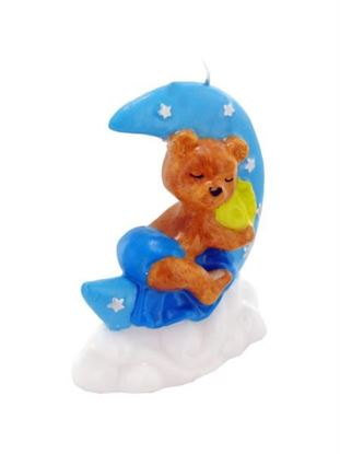 Picture of 3.5inch x 4inch blue sleeping bear candle (Available in a pack of 24)