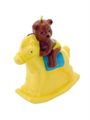Picture of 3.5inch x 4inch bear on rocking horse candle (Available in a pack of 24)