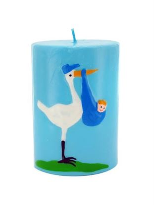 Picture of 3.5inch x 2.5inch blue stork with baby candle (Available in a pack of 24)