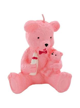 Picture of 2.5 inch x 3.5 inch pink bear candle (Available in a pack of 24)