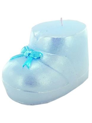Picture of 3.5 inch x 2.5 inch blue baby boot candle (Available in a pack of 24)