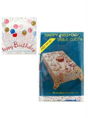 Picture of 54 x 90 happy birthday plastic tablecloth (Available in a pack of 24)