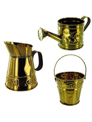 Picture of Asst brass deco (watering can, pitcher, pail) (Available in a pack of 24)