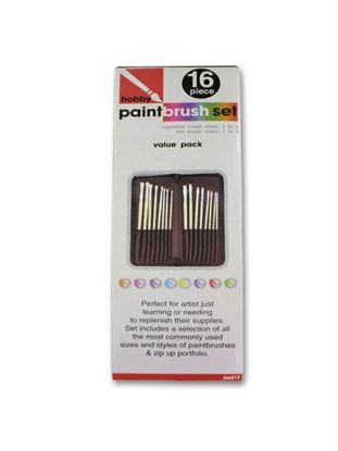 Picture of 16 Piece hobby paint brush set with case (Available in a pack of 2)
