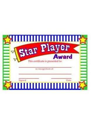 Picture of Star player award certificates (Available in a pack of 24)