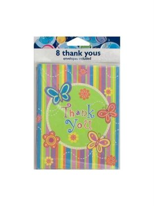 Picture of Colorful butterfly stripe 'Thank You' notes, set of 8 (Available in a pack of 24)