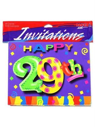 Picture of 29th birthday invitations, pack of 8 (Available in a pack of 24)