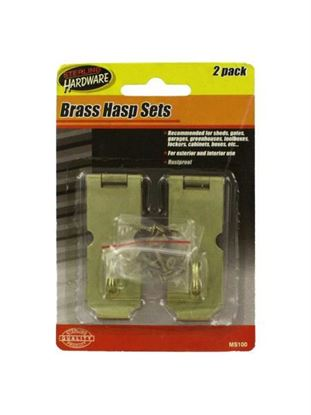 Picture of 2 Pack brass hasp set with screws (Available in a pack of 24)
