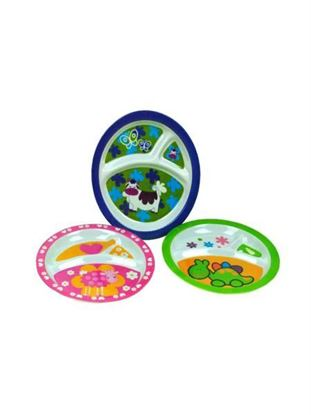 Picture of Melamine sectioned plates for kids, assorted designs (Available in a pack of 24)