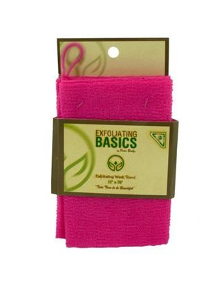 Picture of Pink exfoliating wash towel 12 inch x 36 inch (Available in a pack of 16)