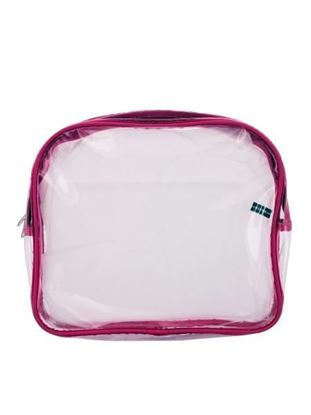 Picture of Clear cosmetic bag with pink trim (Available in a pack of 25)