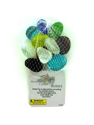 Picture of Decorative colored stones, mesh bag in assorted colors (Available in a pack of 24)