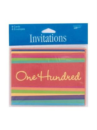 Picture of 100 Hundred striped party invitations, pack of 8 (Available in a pack of 24)