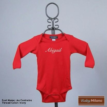 Picture of Personalized Red Long Sleeve Baby Onesie with Name by Baby Milano