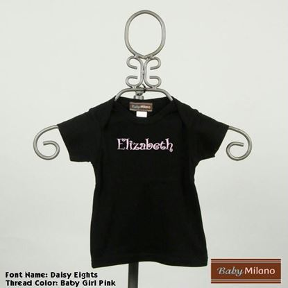 Picture of Personalized Black Baby Shirt with Name by Baby Milano